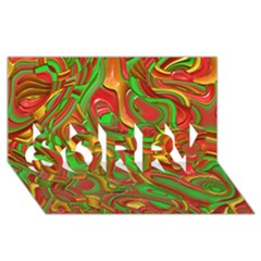 Art Deco Red Green Sorry 3d Greeting Card (8x4)