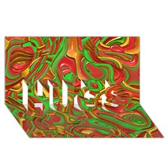 Art Deco Red Green HUGS 3D Greeting Card (8x4)