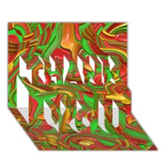 Art Deco Red Green THANK YOU 3D Greeting Card (7x5)