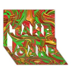 Art Deco Red Green Take Care 3d Greeting Card (7x5)
