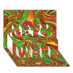 Art Deco Red Green Get Well 3D Greeting Card (7x5)
