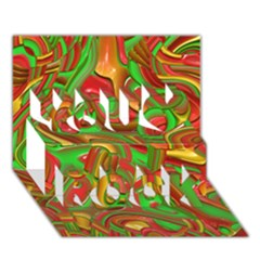 Art Deco Red Green You Rock 3D Greeting Card (7x5)