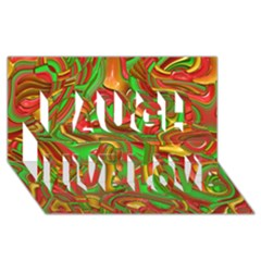 Art Deco Red Green Laugh Live Love 3d Greeting Card (8x4)