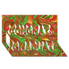 Art Deco Red Green Congrats Graduate 3D Greeting Card (8x4)
