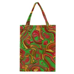 Art Deco Red Green Classic Tote Bags