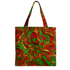 Art Deco Red Green Zipper Grocery Tote Bags