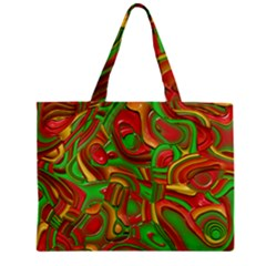 Art Deco Red Green Zipper Tiny Tote Bags