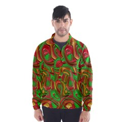 Art Deco Red Green Wind Breaker (men)