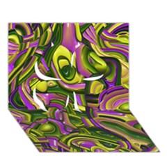 Art Deco Yellow Green Clover 3d Greeting Card (7x5)