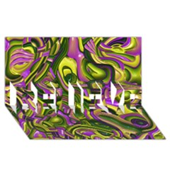 Art Deco Yellow Green Believe 3d Greeting Card (8x4)