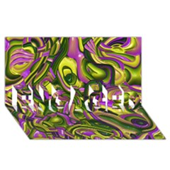 Art Deco Yellow Green ENGAGED 3D Greeting Card (8x4)