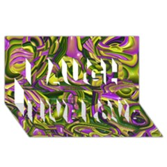 Art Deco Yellow Green Laugh Live Love 3d Greeting Card (8x4)
