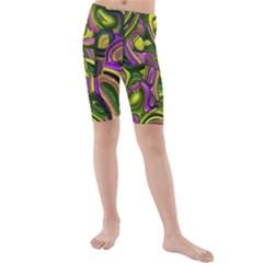 Art Deco Yellow Green Kid s Swimwear