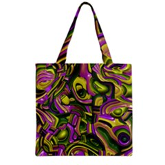 Art Deco Yellow Green Grocery Tote Bags