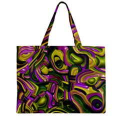Art Deco Yellow Green Zipper Tiny Tote Bags