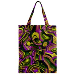 Art Deco Yellow Green Zipper Classic Tote Bags