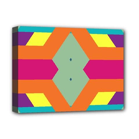 Colorful rhombus and stripes Deluxe Canvas 16  x 12  (Stretched)