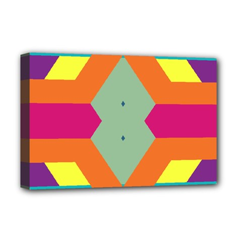 Colorful rhombus and stripes Deluxe Canvas 18  x 12  (Stretched)