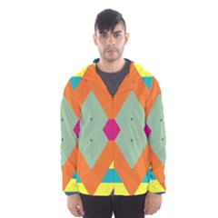 Colorful Rhombus And Stripes Mesh Lined Wind Breaker (men)