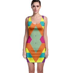 Colorful rhombus and stripes Bodycon Dress