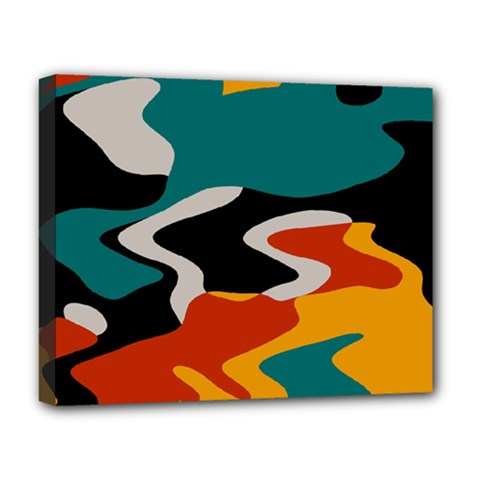 Misc shapes in retro colors Deluxe Canvas 20  x 16  (Stretched)