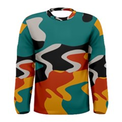 Misc Shapes In Retro Colors Men Long Sleeve T Shirt