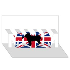 Bulldog Silhouette on flag MOM 3D Greeting Card (8x4)