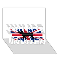 Bulldog Silhouette on flag YOU ARE INVITED 3D Greeting Card (7x5)