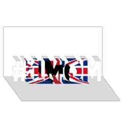 Bulldog Silhouette on flag #1 MOM 3D Greeting Cards (8x4)