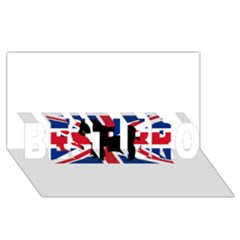 Bulldog Silhouette on flag BEST BRO 3D Greeting Card (8x4)