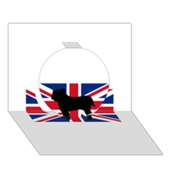 Bulldog Silhouette on flag Circle 3D Greeting Card (7x5)