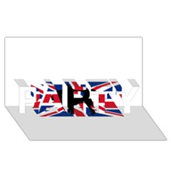 Bulldog Silhouette on flag PARTY 3D Greeting Card (8x4)