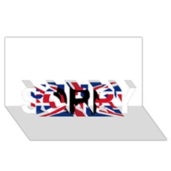 Bulldog Silhouette on flag SORRY 3D Greeting Card (8x4)