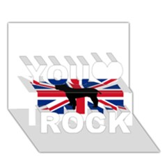 Bulldog Silhouette on flag You Rock 3D Greeting Card (7x5)