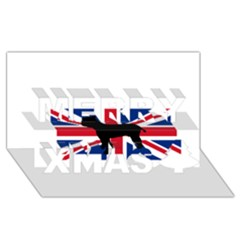 Bulldog Silhouette on flag Merry Xmas 3D Greeting Card (8x4)