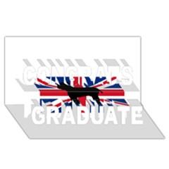 Bulldog Silhouette on flag Congrats Graduate 3D Greeting Card (8x4)