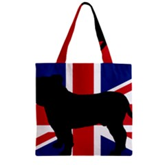 Bulldog Silhouette on flag Zipper Grocery Tote Bags