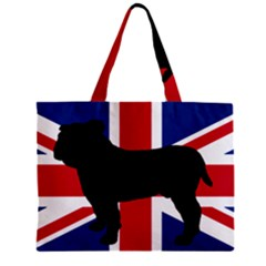 Bulldog Silhouette On Flag Zipper Tiny Tote Bags