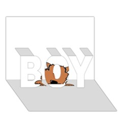 Peeping Pomeranian BOY 3D Greeting Card (7x5)