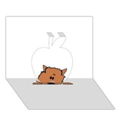 Peeping Pomeranian Apple 3D Greeting Card (7x5)