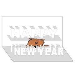 Peeping Pomeranian Happy New Year 3D Greeting Card (8x4)