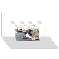 Cairn Terrier Sleeping On Beach Twin Hearts 3D Greeting Card (8x4)
