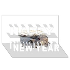 Cairn Terrier Sleeping On Beach Happy New Year 3D Greeting Card (8x4)