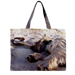 Cairn Terrier Sleeping On Beach Zipper Tiny Tote Bags