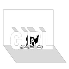 Peeping Boston Terrier GIRL 3D Greeting Card (7x5)