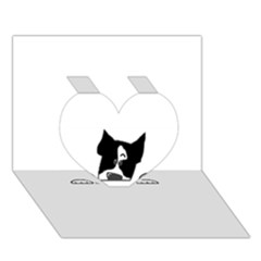 Peeping Boston Terrier Heart 3D Greeting Card (7x5)