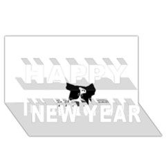 Peeping Boston Terrier Happy New Year 3D Greeting Card (8x4)