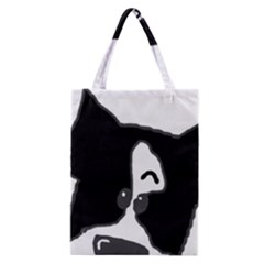 Peeping Boston Terrier Classic Tote Bags