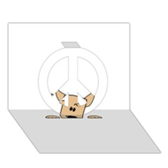 Peeping Chihuahua Peace Sign 3D Greeting Card (7x5)
