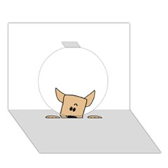 Peeping Chihuahua Circle 3D Greeting Card (7x5)